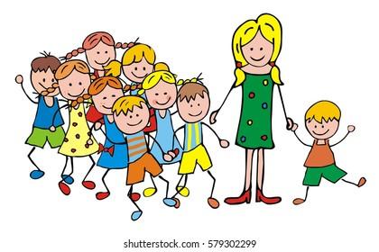 Teacher with children on a trip, vector illustration