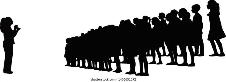 teacher and children singing, chorus silhouette vector