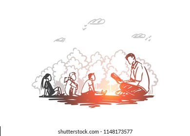 Teacher, education, knowledge, lesson concept. Hand drawn male teacher and pupils sitting outdoor concept sketch. Isolated vector illustration.