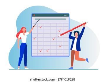 Teacher explaining task. Student passing test, drawing ticks in matrix flat vector illustration. Education, class, lesson concept for banner, website design or landing web page