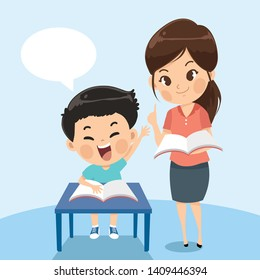 Teacher explains task student boy in the class room and the boy have doubts . Vector flat cartoon illustration.