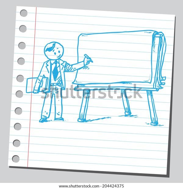 Teacher and flip chart