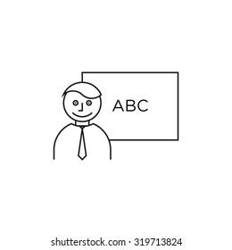 Teacher in front of blackboard profile icon white