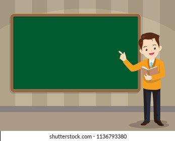 Teacher in front of chalkboard with copy space for your text.