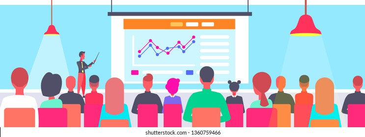 teacher giving financial presentation in lecture hall rear view students listening to speaker meeting presentation education concept auditorium conference hall interior horizontal vector illustration