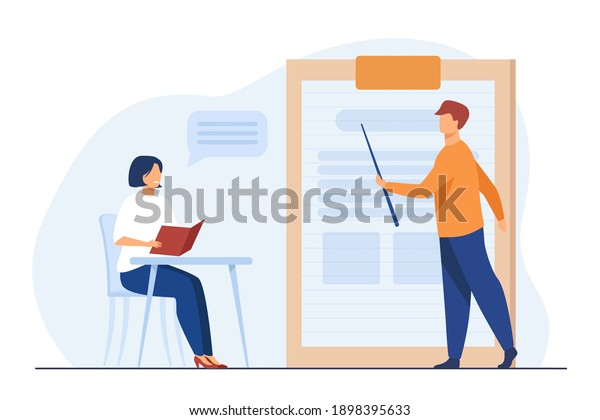 Teacher giving seminar to student in classroom. Mentor and intern, coach and trainee. Flat vector illustration. Education, training, learning concept for banner, website design or landing web page