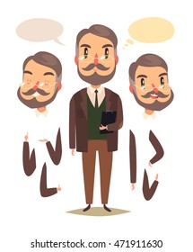 Teacher. Heads and hands elements. Vector character.