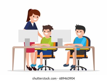 Teacher Helping Elementary School Pupils In Computer Class, vector illustration.  Education and learning concept