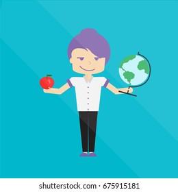 A teacher holds a globe and an apple