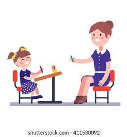 Teacher or home tutor studying with her girl pupil sitting on school desk. Modern flat vector illustration clipart.