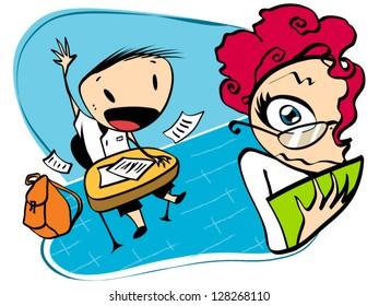 Teacher & Kid - Cartoon