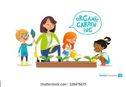 Teacher and kids engaged in gardening in the backyard. Girl watering flowers in the garden. Eco concept. Montessori education concept. Organic gardening. Vector illustration.