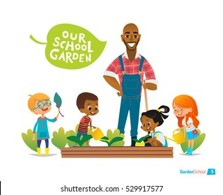 Teacher and kids engaged gardening in the backyard. Girl watering flowers in the garden. Eco concept. Montessori education concept. Organic gardening