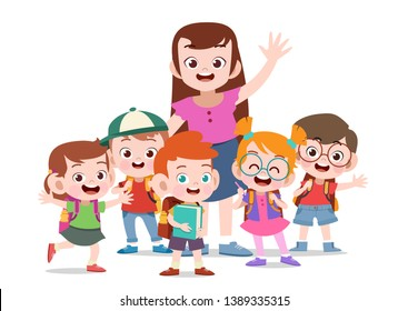 teacher with kids vector illustration isolated