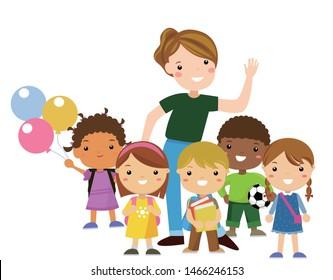 teacher with kids vector illustration isolated