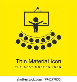 Teacher lecture in front an auditory bright yellow material minimal icon or logo design