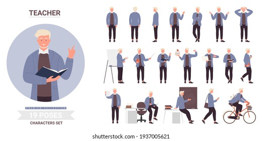 Teacher or man professor work pose set, teaching, front side and back view postures