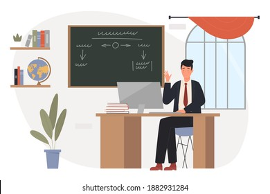Teacher man working in blackboard class vector illustration. Cartoon male school or college teacher character sitting at table with laptop and waving in classroom chalkboard interior isolated on white