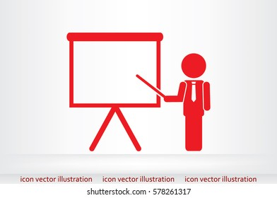 teacher or manager icon vector illustration eps10. Isolated badge presentation or lecture for website or app - stock infographics.