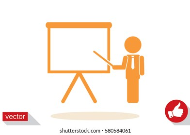 teacher or manager icon vector illustration eps10. Isolated badge presentation or lecture for website or app - stock infographics