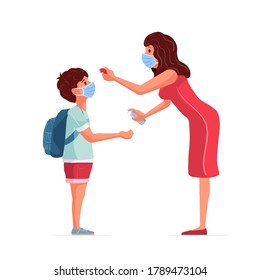 The teacher measures the fever of the student. The teacher gives the student antidisinfectants. Back to school in pandemic times.