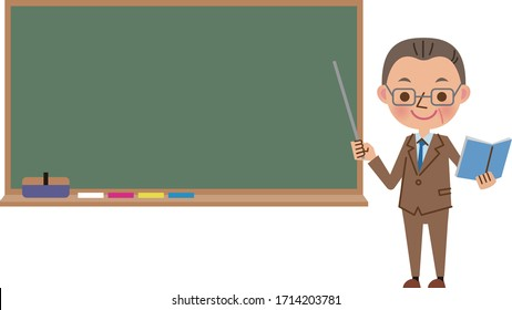 A teacher (middle-aged man) giving a smile while using the blackboard