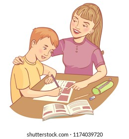 Teacher or mother helps a boy to learn a lesson, vector image, eps10