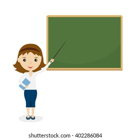 Teacher on lesson. Female teacher with brown hair at the chalkboard. Teacher welcomes students back to school with a pointer. Vector illustration