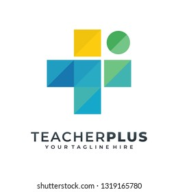 Teacher Plus Geometric Colourfull Logo Vector