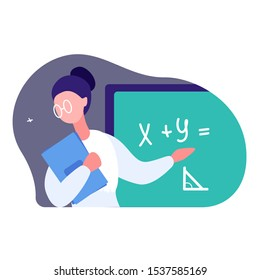The teacher points to the blackboard. A woman tells students at the school the basics of mathematics. She wears glasses and holds a stack of training materials.