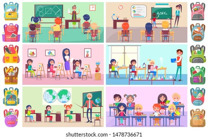 Teacher and pupils in classroom, classmates studying. Backpack sticker, girl and boy sitting at desktop with book, chemistry and language lesson vector. Back to school concept. Flat cartoon