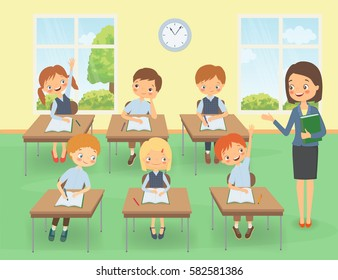 Teacher with pupils in a classroom at a lesson. Vector illustration