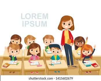 Teacher with pupils in a classroom. Primary school kids. Pupils raising hands. Teacher taking class. Back to school. Primary school kids.