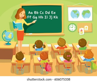 Teacher and pupils in school class