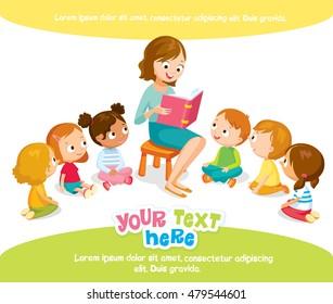 teacher reading for kids in the kinder garden