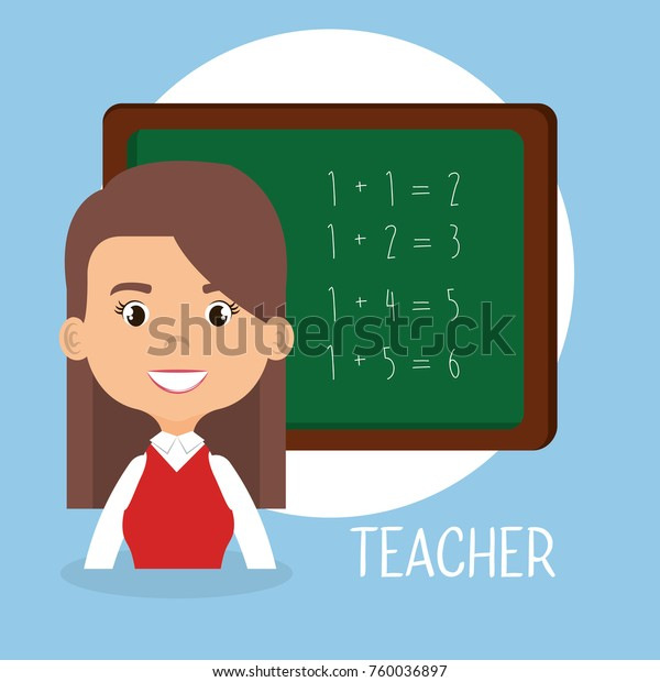 Teacher School Chalkboard Avatar Character Stock Vector Royalty Free 760036897