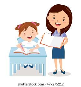 Teacher and school girl. Vector illustration of a cheerful teacher with student.