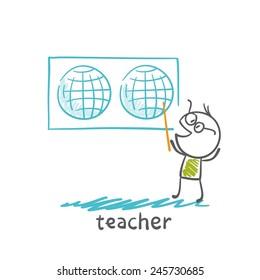 teacher showing a world map illustration