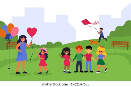 Teacher spending time with preschoolers in park. Woman and children walking together outdoors flat vector illustration. Preschool activity concept for banner, website design or landing web page