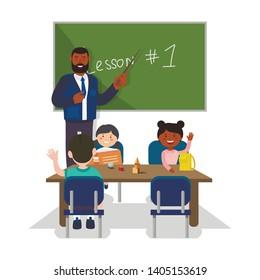 Teacher Stand at Blackboard. First School Lesson. Teacher and Students on White Background. Kids at School. Vector Illustration. Primary School Teacher. Classroom Interior. Children Sit at School Desk