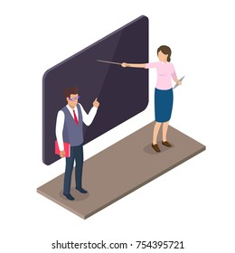 Teacher standing near blackboard with book and woman pointing on screen, lecture professor characters vector illustrations in isometric design
