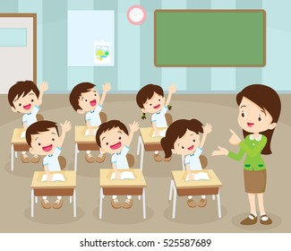 teacher standing teaching in front children raising hands up sitting in classroom flat vector illustration.cute pupil are learning.