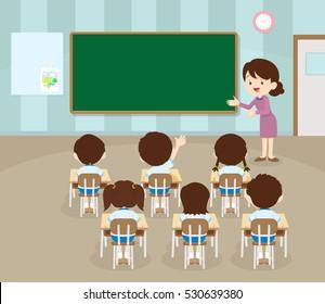 teacher standing teaching in front children raising hands up sitting in classroom flat vector illustration.