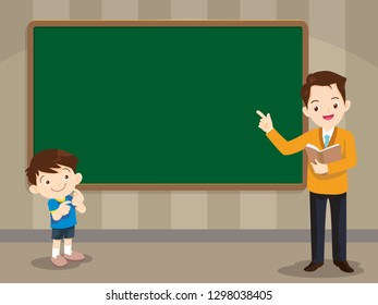 Teacher and studen boy standing in front of chalkboard with copy space for your text.
