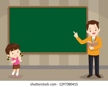 Teacher and studen girl standing in front of chalkboard with copy space for your text.