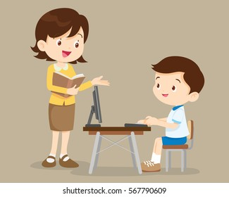 teacher and student boy learning computer.