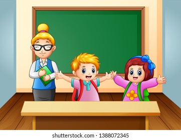 A Teacher and student in the classroom