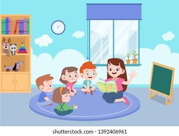teacher with student vector illustration