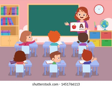 teacher with student vector illustration isolated