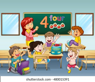 Teacher and students in classroom illustration